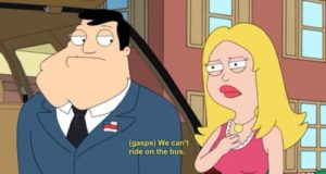 American Dad we cant ride the bus we are white meme
